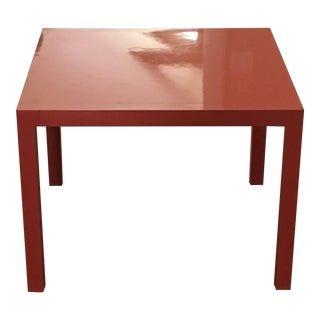Lane Furniture Mid-Century Orange Lacquered Parsons Table For Sale