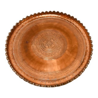 Indo Persian Tinned Copper Hanging Decorative Tray For Sale