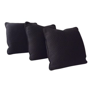 Black Custom Pillows - Set of 3 For Sale