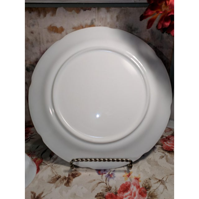 White Vintage Milk Glass Serving Plate/Pedestal Dessert Dish With Grapevine Pattern For Sale - Image 8 of 13