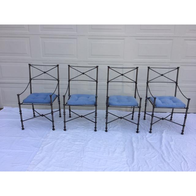 Contemporary Neoclassical Iron Table & Chairs For Sale - Image 3 of 11