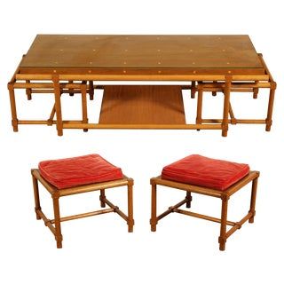 Tommi Parzinger Mid Century Modern Cocktail Table and Stools