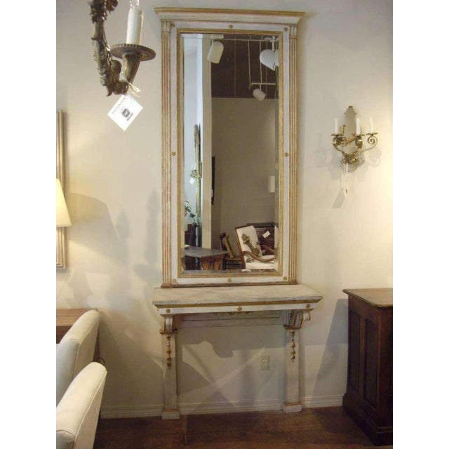 19th C. Italian Neoclassical Style Painted Console and Mirror For Sale - Image 4 of 7