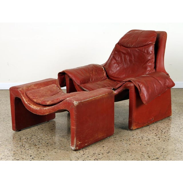 Brick Red Vintage Vittorio Introini for Proposals Distressed Rich Red P60 Leather Lounge Chair and Stool For Sale - Image 8 of 8