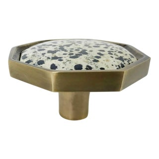 Addison Weeks Harrison Knob Large, Antique Brass & Dalmation Jasper For Sale