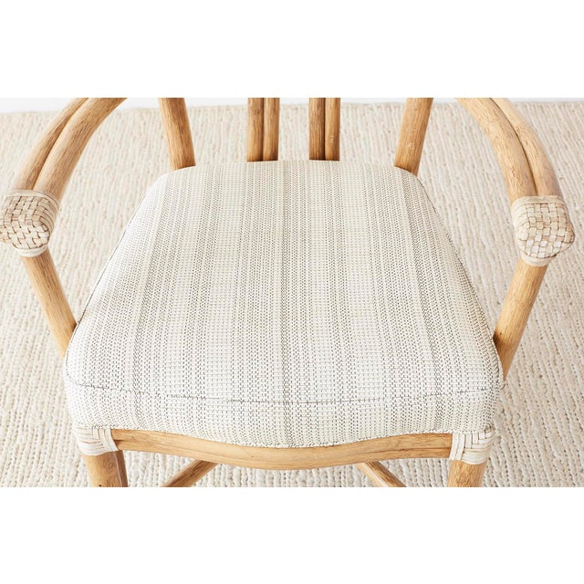 White Pair of McGuire Organic Modern Bamboo Rattan Armchairs For Sale - Image 8 of 13