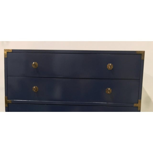 Campaign Bernhardt Navy Campaign Style Chest For Sale - Image 3 of 7