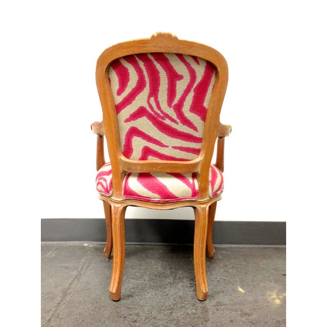 Pink Zebra Print Louis Chair For Sale - Image 5 of 8