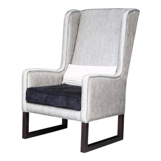 Matteo High Back Wing Chair in Kravet Fabric From Costantini For Sale