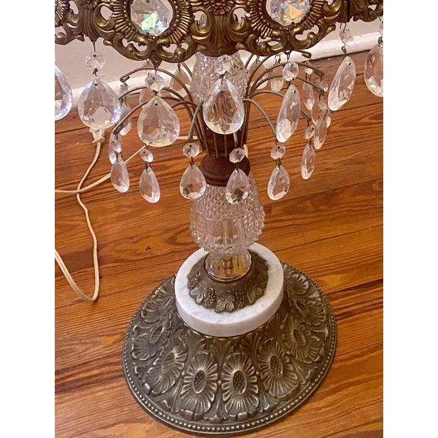 19th Century Large Gilt Bronze and Crystal Girandole Table Lamps - a Pair For Sale - Image 4 of 6