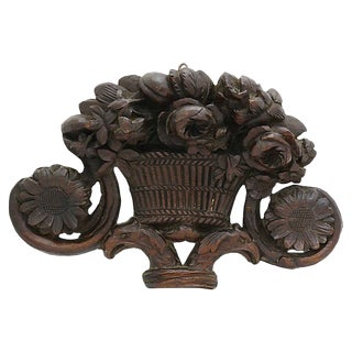 Early 19th C. Flower Basket Wood Carving For Sale
