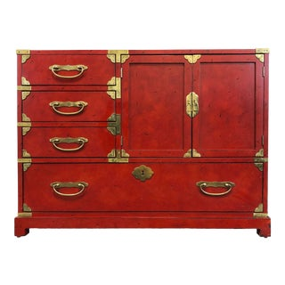 Century Furniture Red Asian Oriental Campaign Style Chest Console Sideboard For Sale