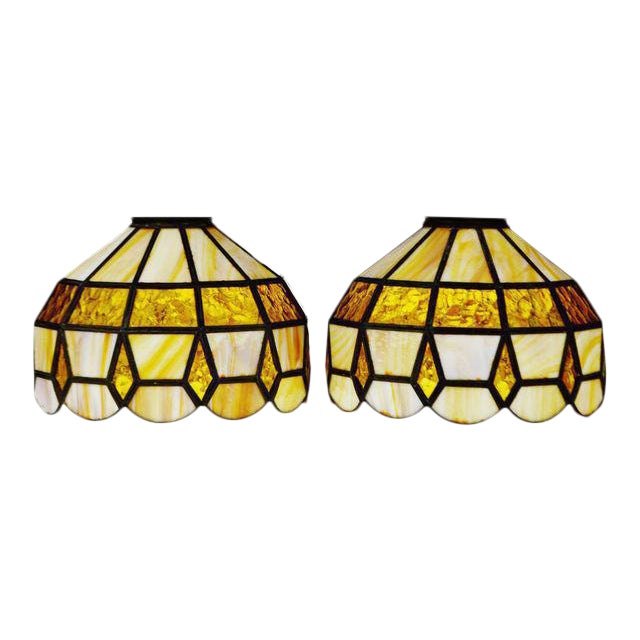 Vintage Tiffany Style Stained Glass Lamp Shades A Pair Chairish