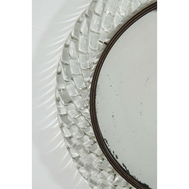 Mid 20th Century Italian Murano Art Glass and Bronze Wall or Vanity Mirror For Sale - Image 5 of 10