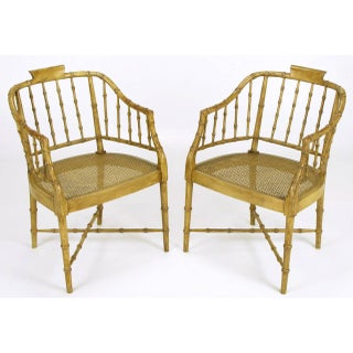 Pair of Baker Glazed Lacquer Bamboo-Form Armchairs Preview
