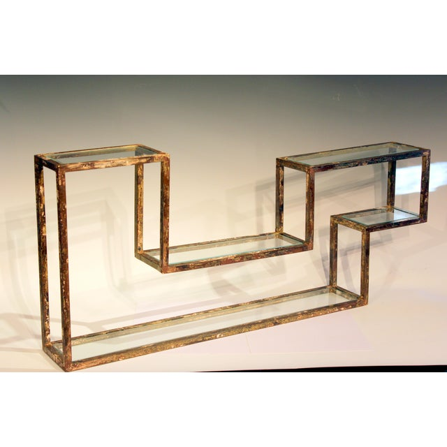 1960s Mid-Century Modern Display Shelf Glass Steel Case Tabletop Curio Gilt For Sale - Image 4 of 12