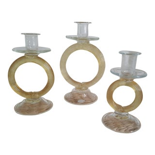 Cyan Cirque Amber Candlesticks - Set of 3 For Sale