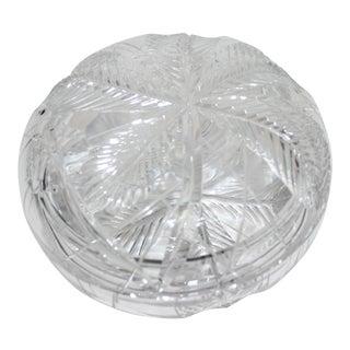 Vintage Lidded Box Bonbonnier in Cut Crystal For Sale