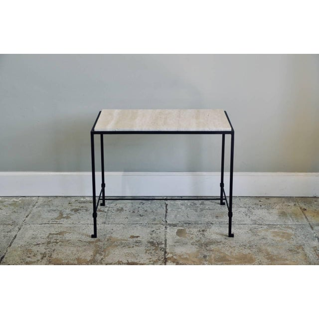 """Contemporary Design Frères """"Diagramme"""" Wrought Iron and Travertine Side Tables - a Pair For Sale - Image 10 of 11"""