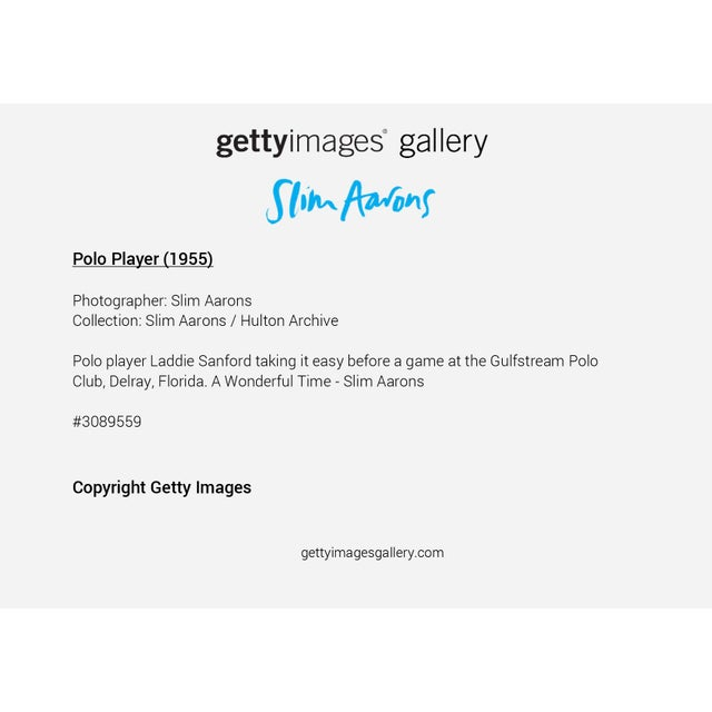 """Not Yet Made - Made To Order Slim Aarons, """"Polo Player,"""" January 1, 1955 Getty Images Gallery Framed Art Print For Sale - Image 5 of 5"""