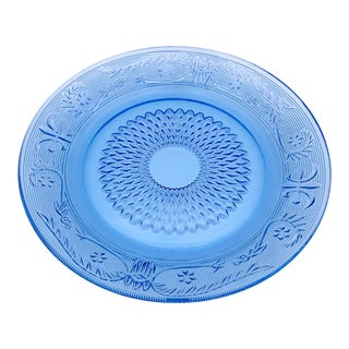 Late 20th Century Blue Glass Dinner Plate For Sale