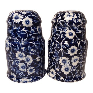 1970s English Staffordshire Calico Blue Crownford Salt & Pepper Set - 2 Pieces For Sale