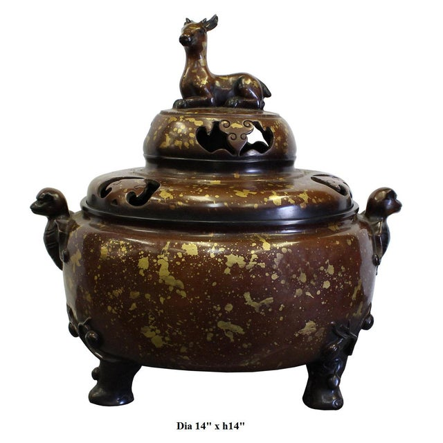 Metal Chinese Fine Bronze Metal Deer Theme Incense Burner For Sale - Image 7 of 7