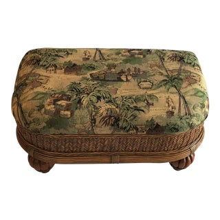 Rattan & Wicker Ottoman Coffee Table For Sale