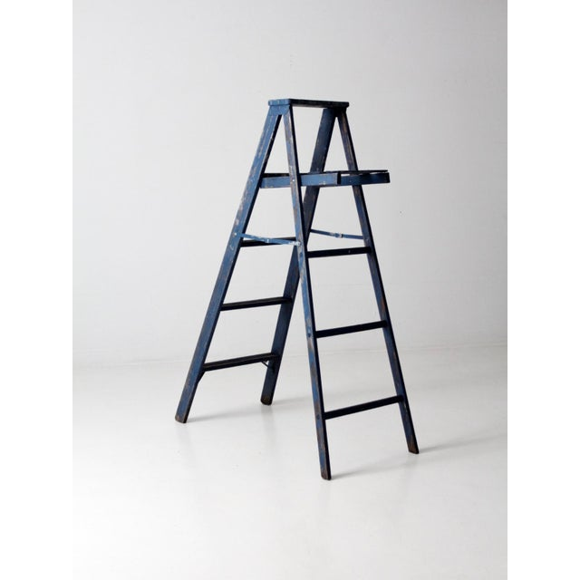 Mid 20th Century Vintage Blue Wooden Ladder For Sale - Image 5 of 10