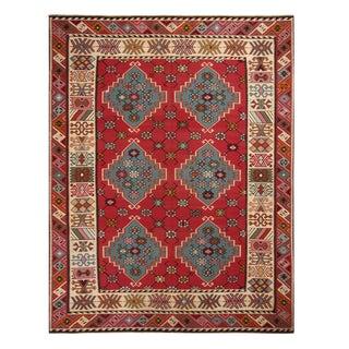 Antique Basra Burgundy and Spectral Wool Kilim Rug For Sale