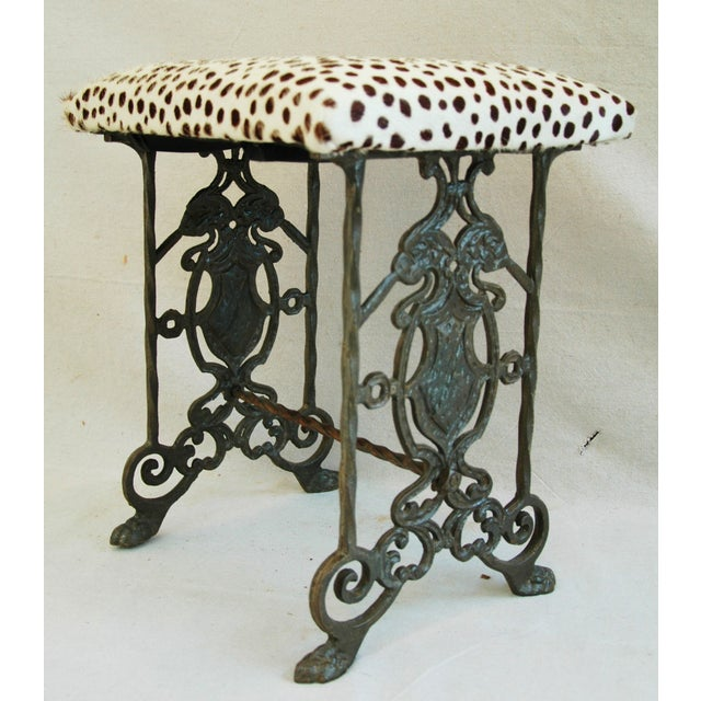 1930s Iron & Cheetah Spotted Cowhide Bench - Image 10 of 11