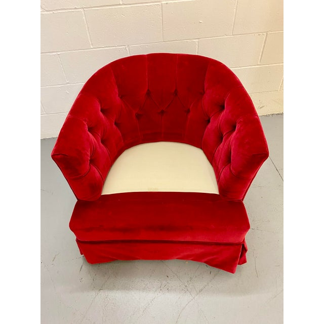 Textile 1960s Vintage Red Velvet Button Tucked Arm Chair For Sale - Image 7 of 9