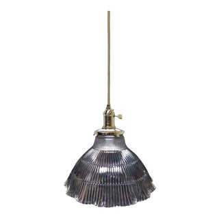 Original Clear Holophane Shade Pendant Light For Sale