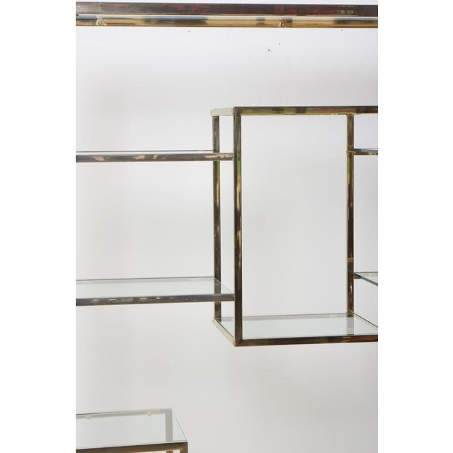 1970s Very Huge Brass and Tinted Glass Bookshelf or Étagère by Romeo Rega For Sale - Image 5 of 6