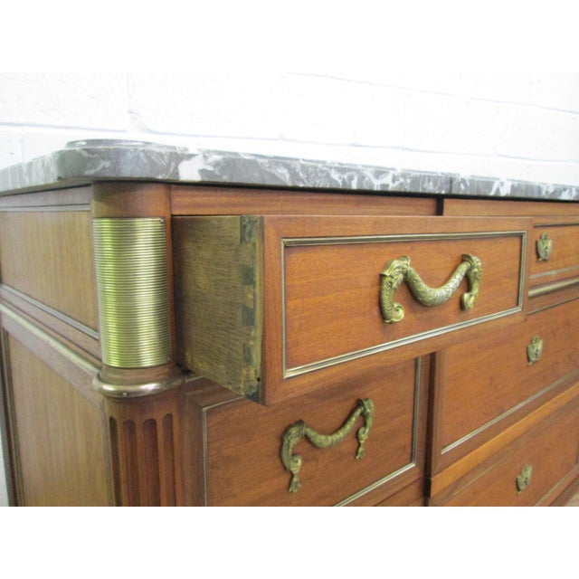 Pair of French Louis XIV Style Marble Top Dressers Commodes For Sale In New York - Image 6 of 9