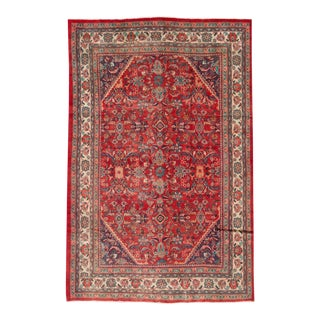 Mid-20th Century Vintage Distressed Mahal Wool Rug For Sale