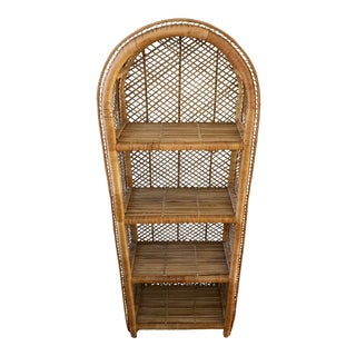 Vintage Boho Wicker Etagere Shelf Unit For Sale