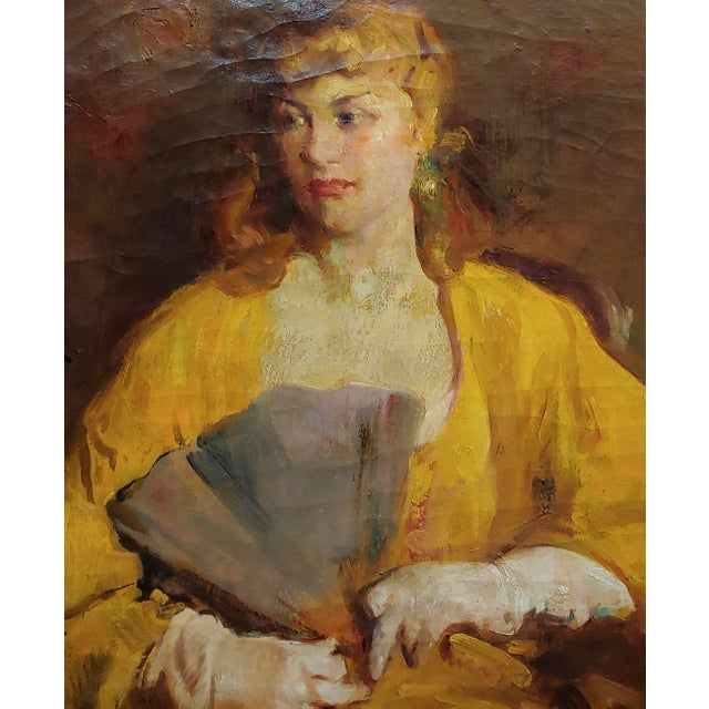 William Frederick Foster -Woman Wearing White Gloves- Oil Painting- C1940s For Sale - Image 4 of 11