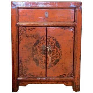 Vintage Chinese Painted Nightstand For Sale