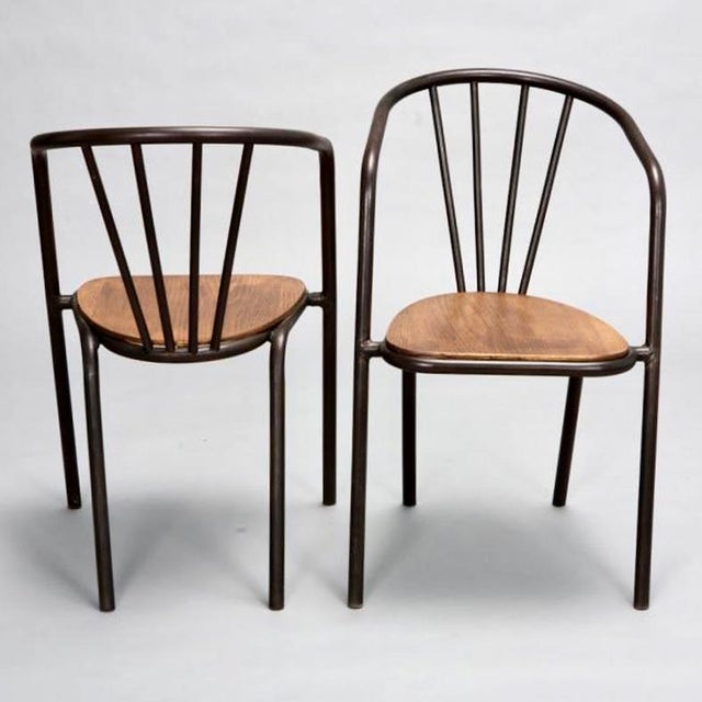Set of 6 Mid Century Metal & Wood Armchairs - Image 3 of 7