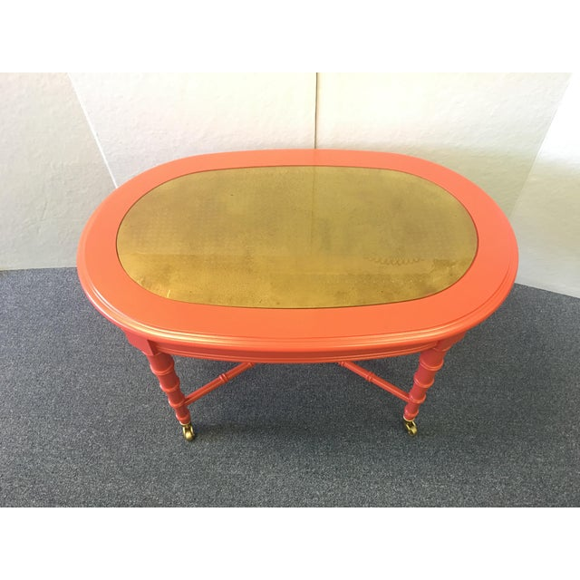 Asian Classic 1960's Oval Faux Bamboo and Cane Regency Revival Table For Sale - Image 3 of 8