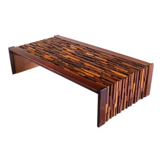 1970s Brutalist Percival Lafer Rosewood and Glass Coffee Table For Sale