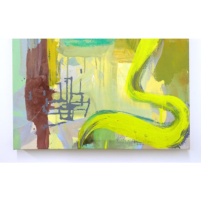 """Abstract Molly Herman """"Sonal Yellow"""" Abstract Painting For Sale - Image 3 of 4"""