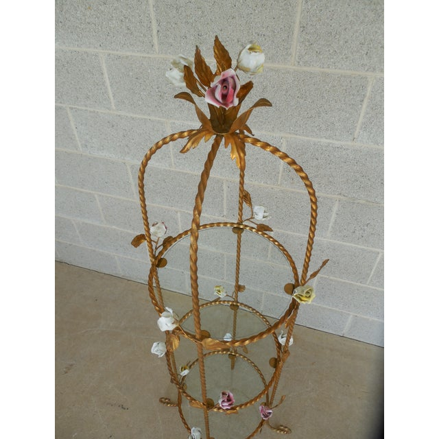 Vintage Italian Gilt Hand Painted Rose Petal Accented Etagere For Sale - Image 5 of 8