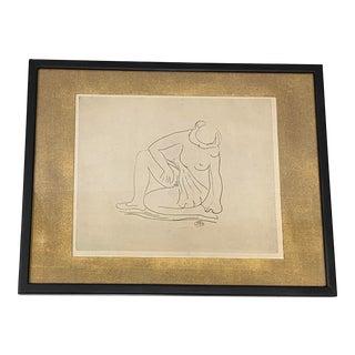 """Artistide Maillol (1861-1944) """"Femme Nu Assis"""" Original Etching C.1930 For Sale"""