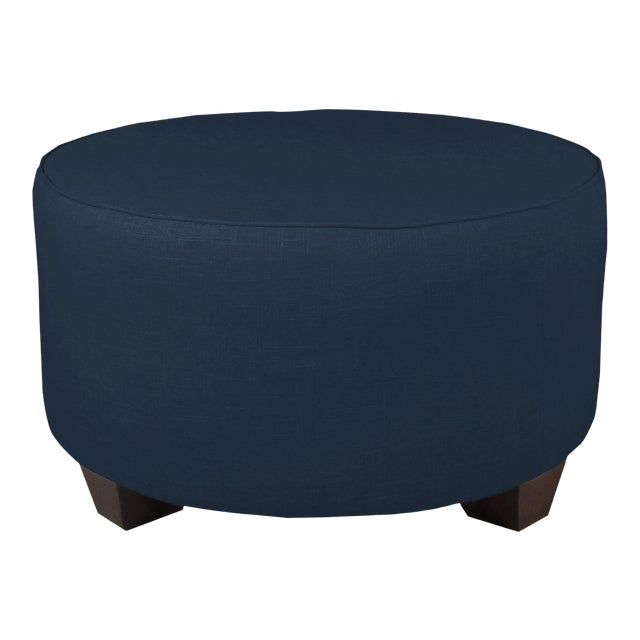 Not Yet Made - Made To Order Linen Navy Round Cocktail Ottoman For Sale - Image 5 of 5