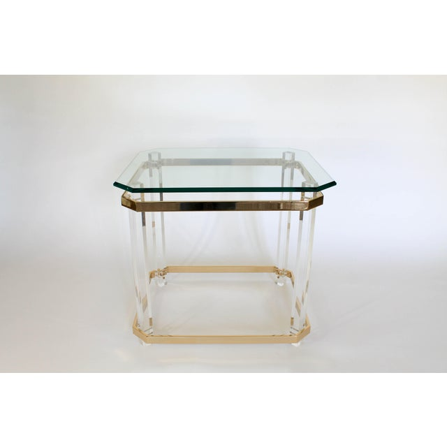 Lucite & Brass Side Table For Sale In Milwaukee - Image 6 of 11