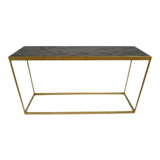 Brass & Parque Wood Console Table For Sale
