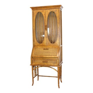 Faux Bamboo Rattan Light Fruitwood Finish Oval Glass Secretary Bookcase Cabinet For Sale