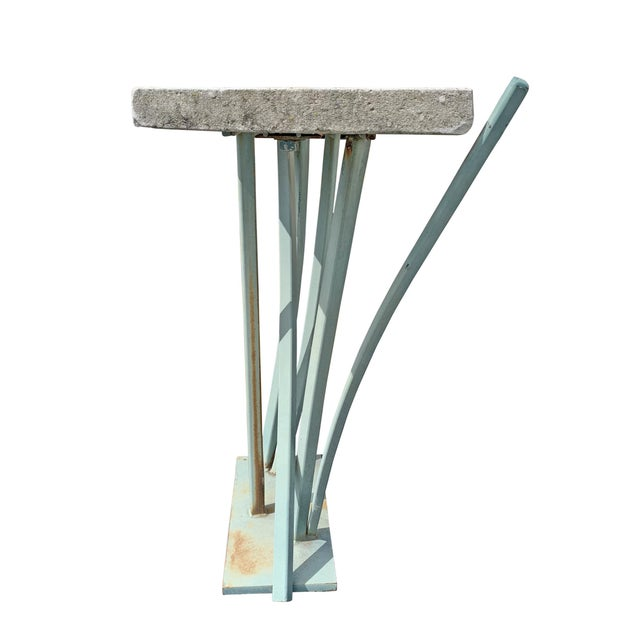 Metal Iron and Cast Stone Console Table by Joseph Wesner For Sale - Image 7 of 13